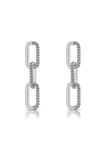 Alberto Guardiani Alberto Guardiani Ag20145Kup Dikdörtgen Halka Işlemeli Jewelery Küpe Gümüş